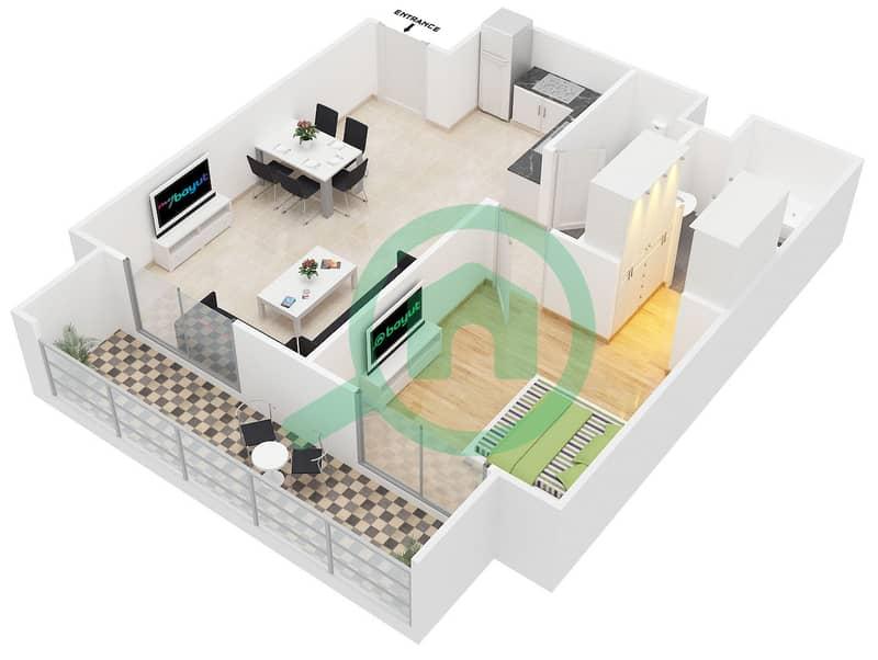 المخططات الطابقية لتصميم النموذج A شقة 1 غرفة نوم - كانديس استر image3D
