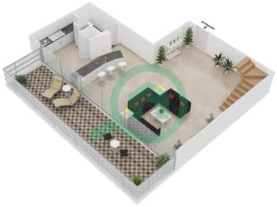 Magnolia Residence - 1 Bedroom Apartment Type L-1B-5 Floor plan
