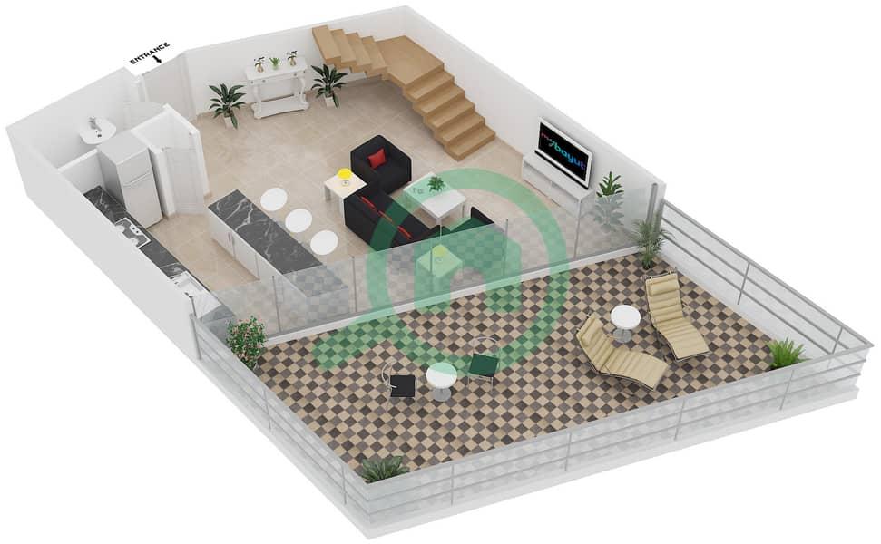Magnolia Residence - 1 Bedroom Apartment Type L-1B-4 Floor plan Lower Level image3D