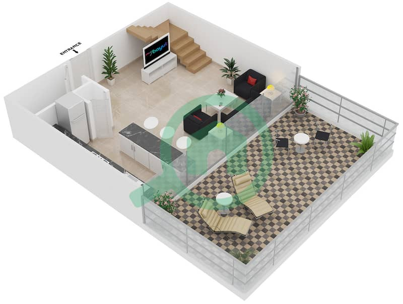 Magnolia Residence - 1 Bedroom Apartment Type L-1B-3 Floor plan Lower Level image3D