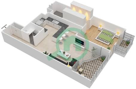 المخططات الطابقية لتصميم الوحدة 205 شقة 1 غرفة نوم - كابودوشا