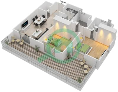 Remraam - 2 Bedroom Apartment Type 2 Floor plan