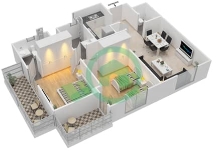 Remraam - 2 Bedroom Apartment Type 1 Floor plan