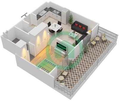 Remraam - 1 Bedroom Apartment Type 6C Floor plan