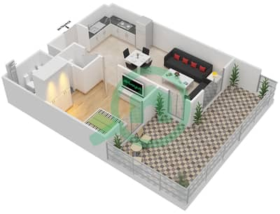 Remraam - 1 Bedroom Apartment Type 5A Floor plan
