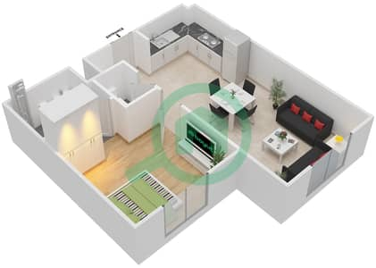 Remraam - 1 Bedroom Apartment Type 5 Floor plan