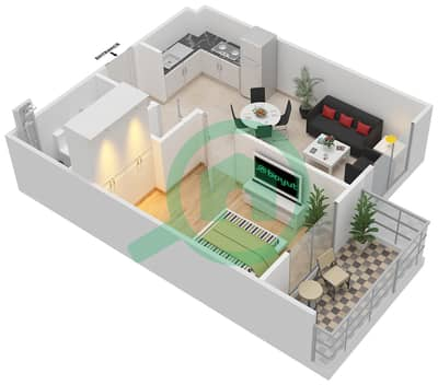 Remraam - 1 Bedroom Apartment Type 3 Floor plan