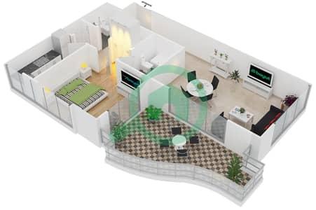 المخططات الطابقية لتصميم النموذج T2 شقة 1 غرفة نوم - سوليتير كاسكيدز