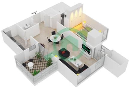 المخططات الطابقية لتصميم النموذج T3 شقة 1 غرفة نوم - سوليتير كاسكيدز