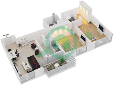 المخططات الطابقية لتصميم النموذج T4 شقة 2 غرفة نوم - سوليتير كاسكيدز