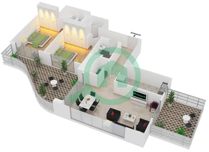 المخططات الطابقية لتصميم النموذج T5 شقة 2 غرفة نوم - سوليتير كاسكيدز