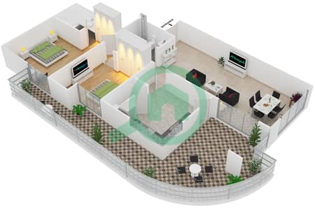 المخططات الطابقية لتصميم النموذج T6 شقة 2 غرفة نوم - سوليتير كاسكيدز