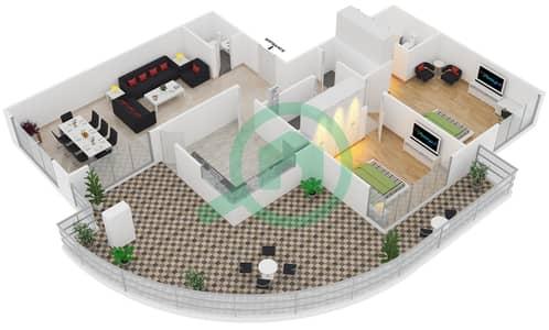 المخططات الطابقية لتصميم النموذج T7 شقة 2 غرفة نوم - سوليتير كاسكيدز