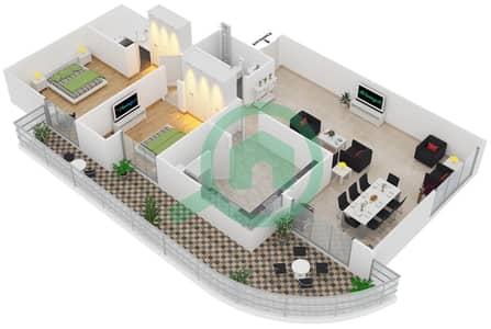 المخططات الطابقية لتصميم النموذج T8 شقة 2 غرفة نوم - سوليتير كاسكيدز