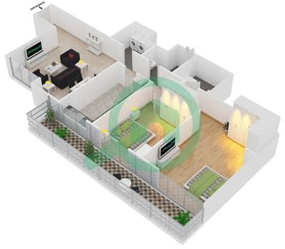 المخططات الطابقية لتصميم النموذج T10 شقة 2 غرفة نوم - سوليتير كاسكيدز