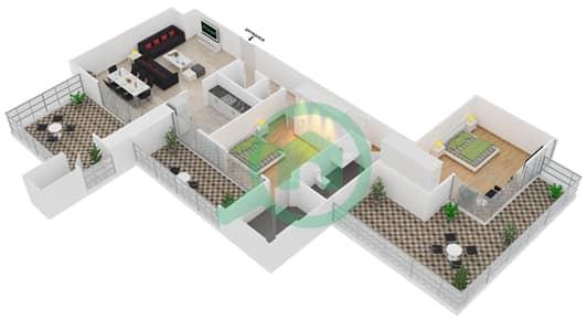 المخططات الطابقية لتصميم النموذج T11 شقة 2 غرفة نوم - سوليتير كاسكيدز