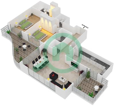 المخططات الطابقية لتصميم النموذج T12 شقة 2 غرفة نوم - سوليتير كاسكيدز