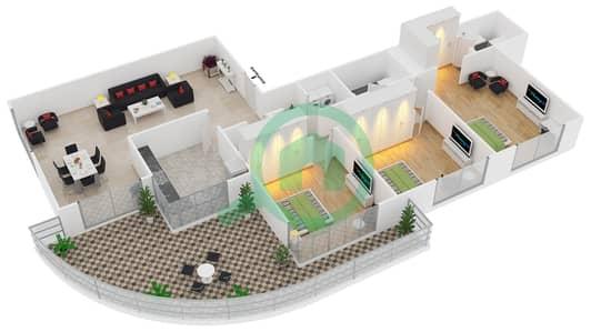 المخططات الطابقية لتصميم النموذج T9 شقة 3 غرف نوم - سوليتير كاسكيدز