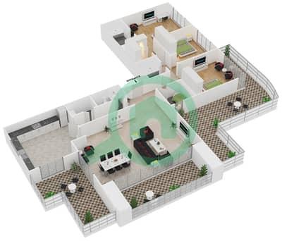المخططات الطابقية لتصميم النموذج T13 شقة 3 غرف نوم - سوليتير كاسكيدز