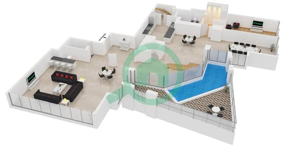 23 Marina - 4 Bedroom Apartment Unit 3 FLOOR 62-85 Floor plan