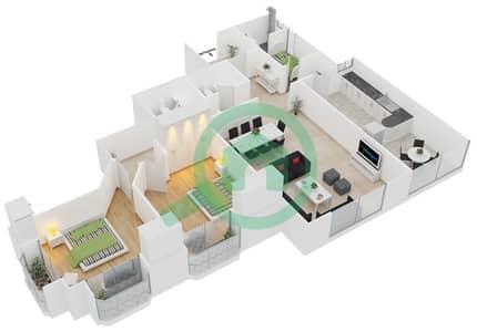 المخططات الطابقية لتصميم النموذج A شقة 2 غرفة نوم - برج الدانة
