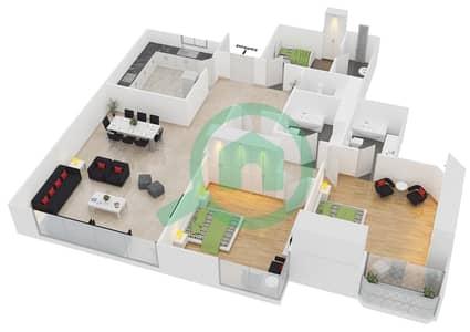 المخططات الطابقية لتصميم النموذج B شقة 2 غرفة نوم - برج الدانة