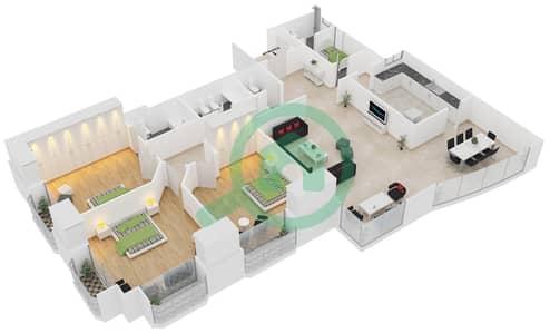 المخططات الطابقية لتصميم النموذج A شقة 3 غرف نوم - برج الدانة