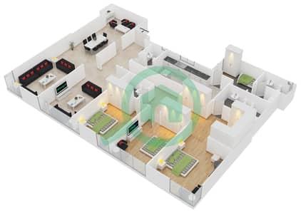المخططات الطابقية لتصميم النموذج B شقة 3 غرف نوم - برج الدانة