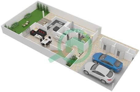 المخططات الطابقية لتصميم النموذج 3TH-E تاون هاوس 3 غرف نوم - الغدیر