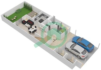 Al Ghadeer - 2 Bedroom Townhouse Type 2TH Floor plan