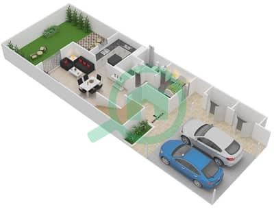 المخططات الطابقية لتصميم النموذج 3TH-M تاون هاوس 3 غرف نوم - الغدیر