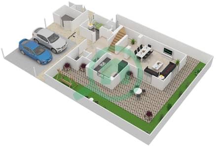 Al Ghadeer - 4 Bedroom Villa Type 4B-V Floor plan