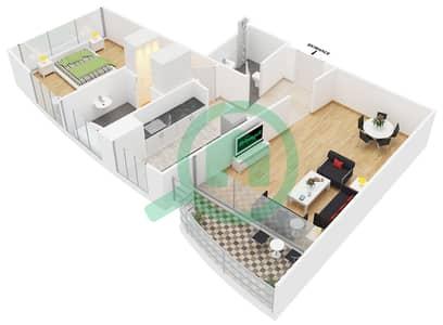المخططات الطابقية لتصميم النموذج A شقة 1 غرفة نوم - الوليد بارادايس