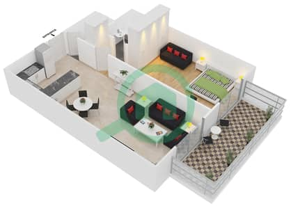 ALCOVE - 1 Bedroom Apartment Type A1 Floor plan