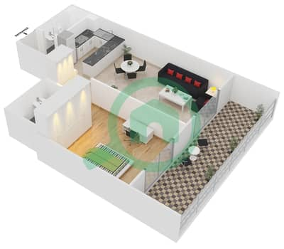 ALCOVE - 1 Bedroom Apartment Type A3 Floor plan