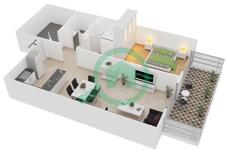 ALCOVE - 1 Bedroom Apartment Type A5 Floor plan