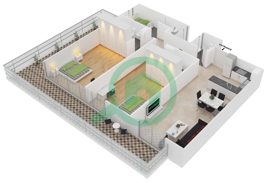 المخططات الطابقية لتصميم النموذج B2 شقة 2 غرفة نوم - الكوف Floor 1-3 image3D