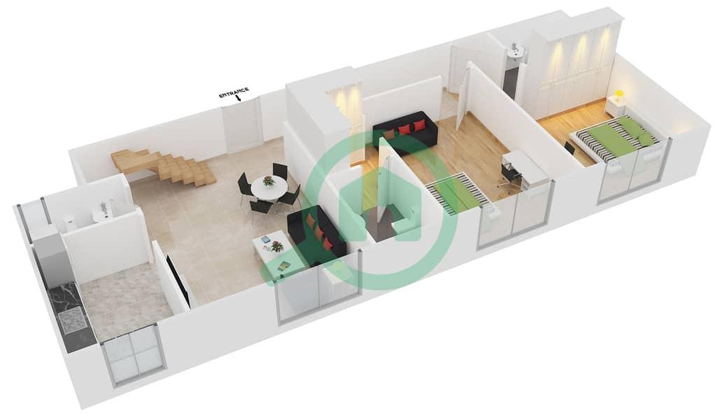 المخططات الطابقية لتصميم النموذج B1 FLOOR 5 شقة 2 غرفة نوم - الكوف Floor 5 Lower 3D