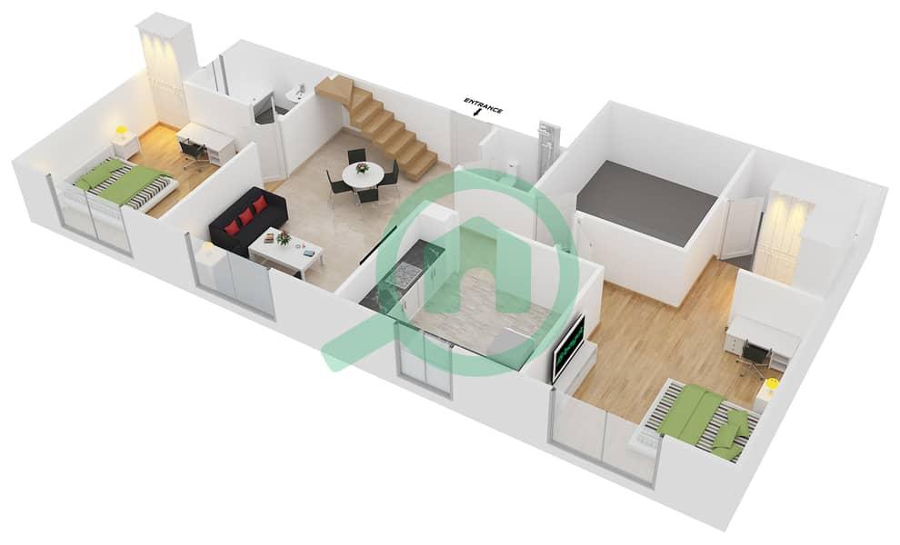 المخططات الطابقية لتصميم النموذج B3 FLOOR 5 شقة 2 غرفة نوم - الكوف Floor 5 Lower image3D