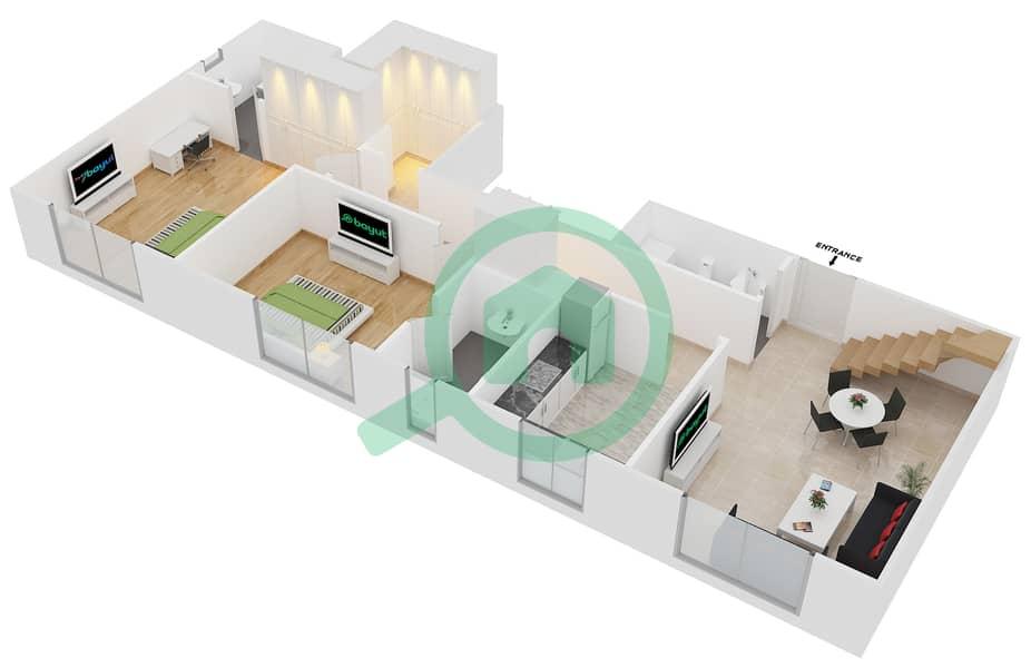 المخططات الطابقية لتصميم النموذج B4 FLOOR 5 شقة 2 غرفة نوم - الكوف Floor 5 Lower 3D