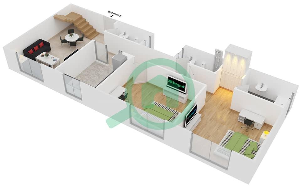 المخططات الطابقية لتصميم النموذج B6 FLOOR 5 شقة 2 غرفة نوم - الكوف Floor 5 Lower 3D