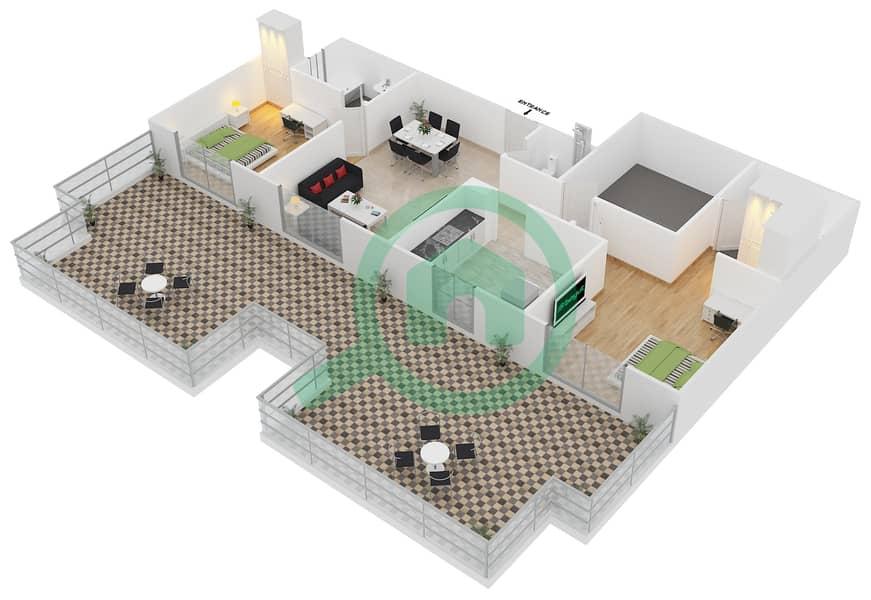 ALCOVE - 2 Bedroom Apartment Type B3 FLOOR 4 Floor plan Floor 4 3D