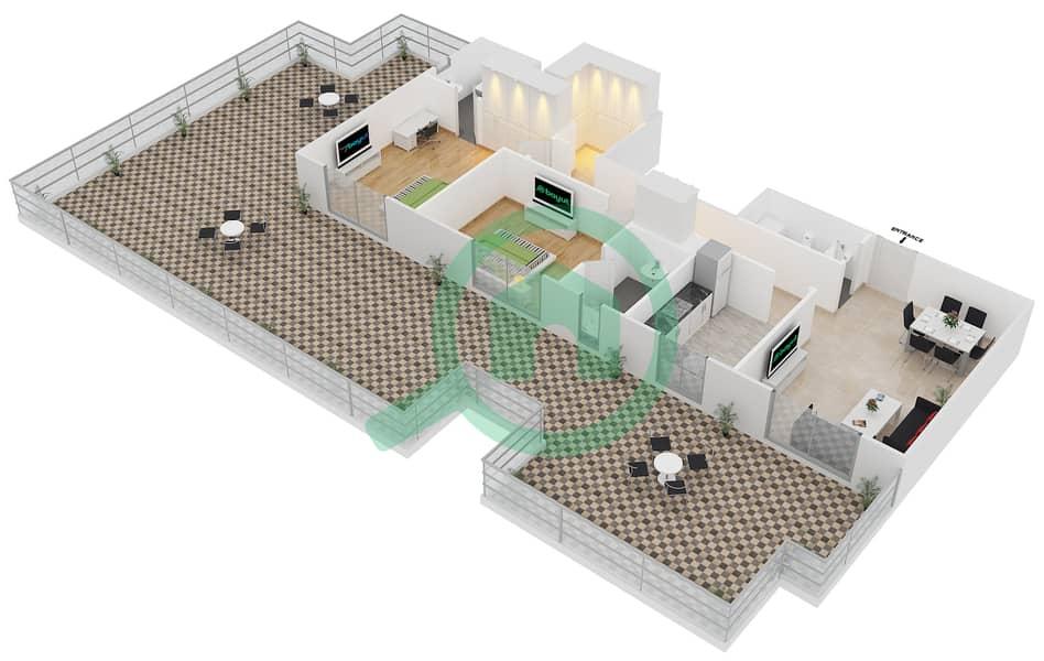 المخططات الطابقية لتصميم النموذج B4 FLOOR 4 شقة 2 غرفة نوم - الكوف Floor 4 3D