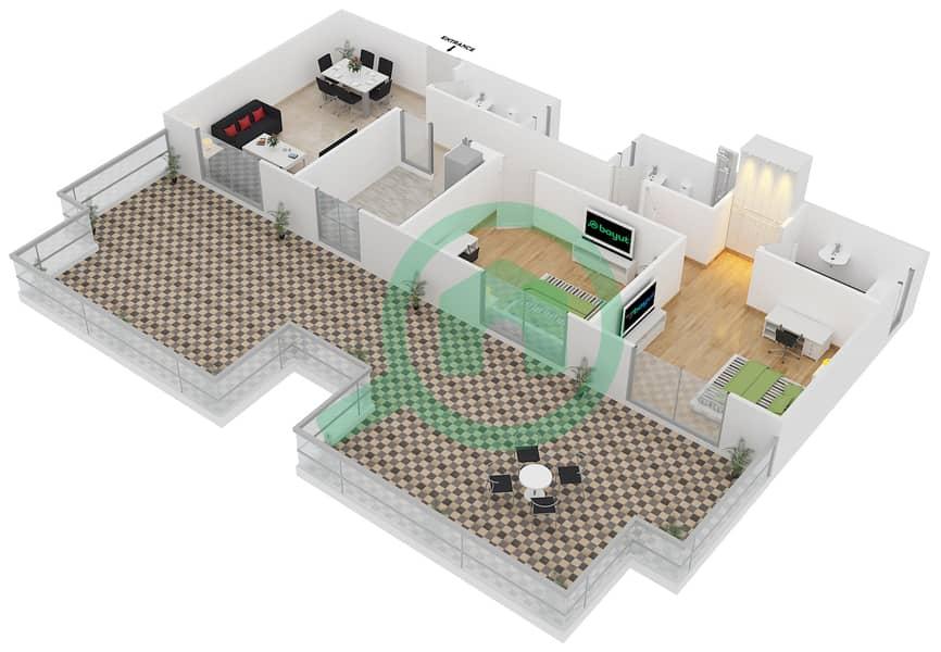 المخططات الطابقية لتصميم النموذج B6 FLOOR 4 شقة 2 غرفة نوم - الكوف Floor 4 3D