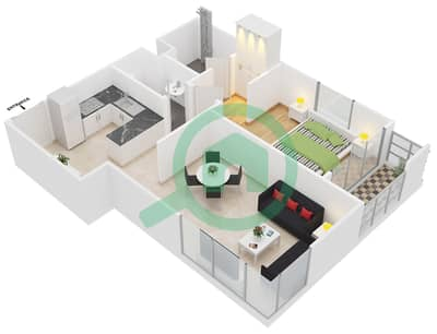 المخططات الطابقية لتصميم النموذج 1 شقة 1 غرفة نوم - عزيزي برتون