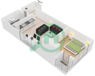 المخططات الطابقية لتصميم النموذج 2 شقة 1 غرفة نوم - عزيزي برتون