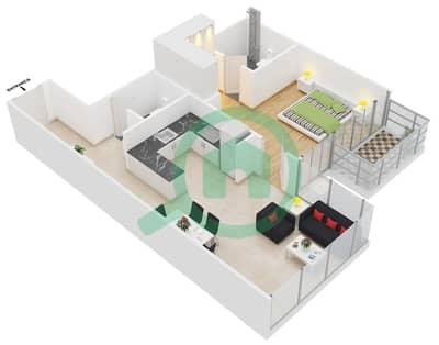 المخططات الطابقية لتصميم النموذج 3 شقة 1 غرفة نوم - عزيزي برتون