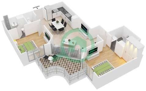 المخططات الطابقية لتصميم النموذج 1 شقة 2 غرفة نوم - عزيزي برتون
