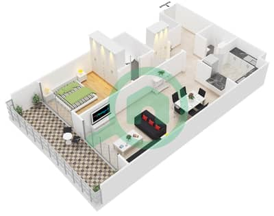 المخططات الطابقية لتصميم النموذج B1 شقة 1 غرفة نوم - برمودا فيوز