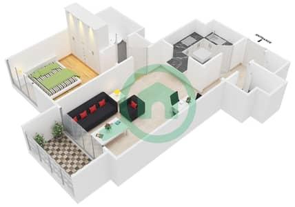 المخططات الطابقية لتصميم النموذج B2 شقة 1 غرفة نوم - برمودا فيوز